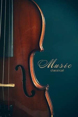 Classical violin on dark blue background Stock Photo