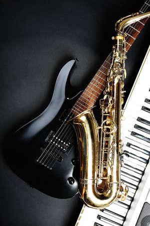 Musical instruments on dark background Stock Photo