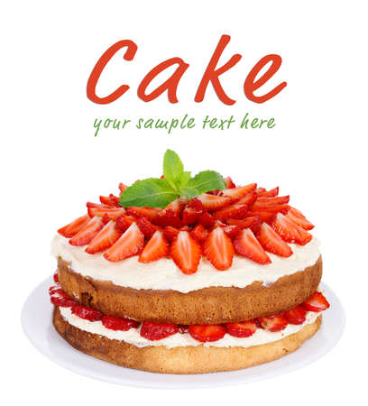 Delicious biscuit cake with strawberries isolated on white Banque d'images