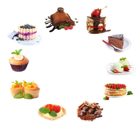 health collage: Collage of desserts isolated on white Stock Photo