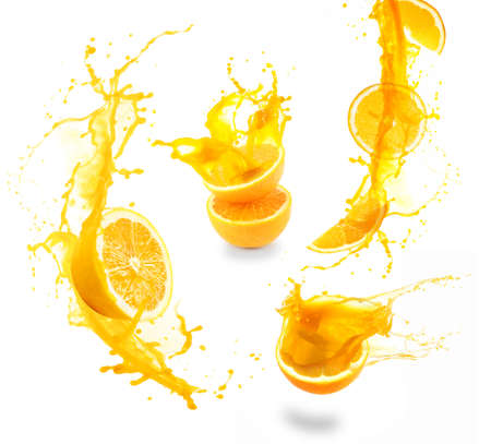 citricos: Collage de salpicaduras de jugo de naranja aislado en blanco