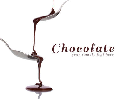 Chocolate poured into a spoon isolated on white