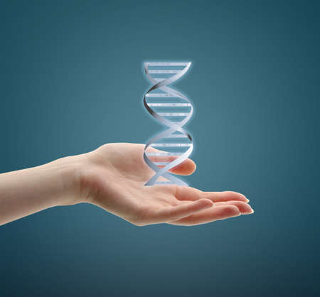 guanine: Hand with DNA vector image, on blue background Stock Photo
