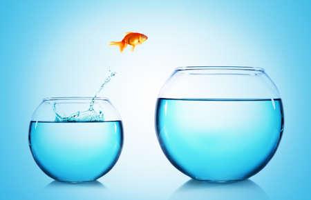 Goldfish springen uit glas aquarium, op een blauwe achtergrond