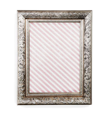 vecchia cornice: Old frame with striped canvas isolated on white