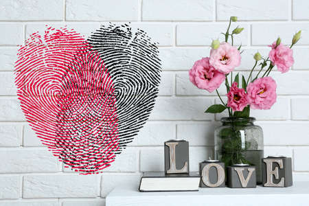 fingerprint card: Beautiful flowers in vase with word Love and fingerprint heart