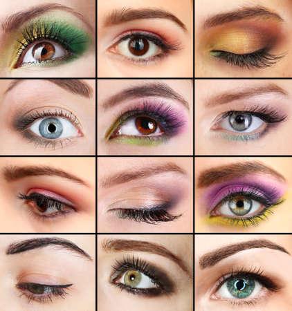 美しい女性の目でコラージュします。