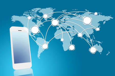 roaming: Technology and network concept - smarthphone with world map Stock Photo