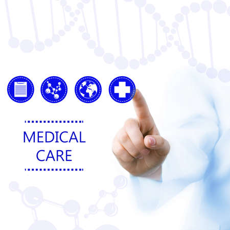 healthcare and medicine: Medical doctor working with healthcare icons. Modern medical technologies concept Stock Photo