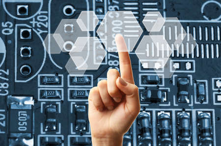 technologie: Concept de la technologie du futur intègre l'électronique et bio-technologies Banque d'images