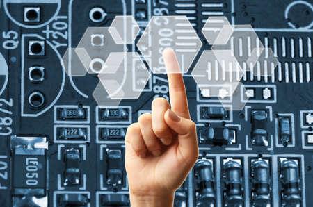 technology: Futuro concepto de tecnología integra la electrónica y biotecnologías Foto de archivo