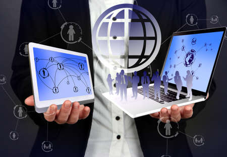 objects: Businesswoman holding social objects Stock Photo