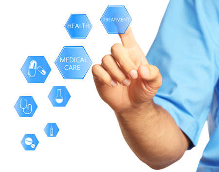 medical technology: Doctor hand with medicine icons - medical technology concept