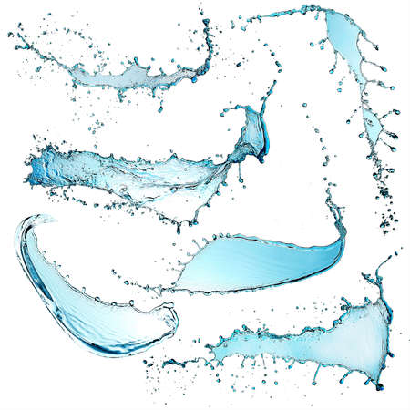 splash de agua: Salpicaduras de agua aisladas en blanco