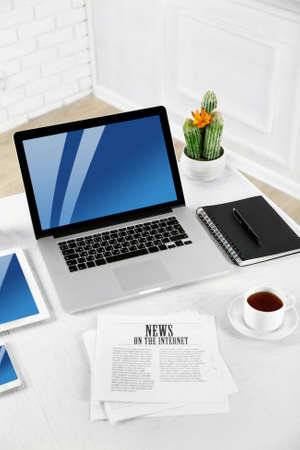 close up view: Modern workplace with laptop, close up