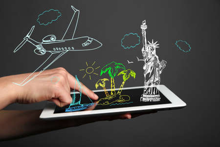 immigration: Concept of planning vacation - tablet  pc with vector illustrations