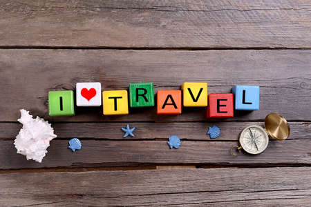 foreign country: Travel inscription on wooden background Stock Photo