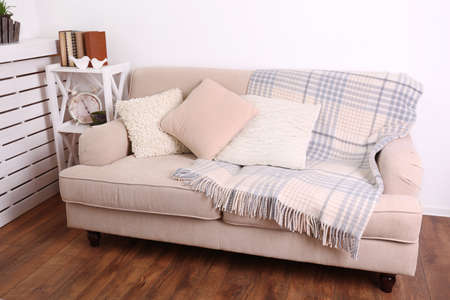 blankets: Modern room with comfortable sofa, indoors