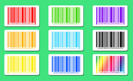bar codes: Bright bar codes on green background. Vector image Stock Photo