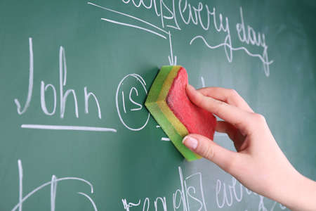 syntactic: Teacher hand wiping off sentences from blackboard background Stock Photo