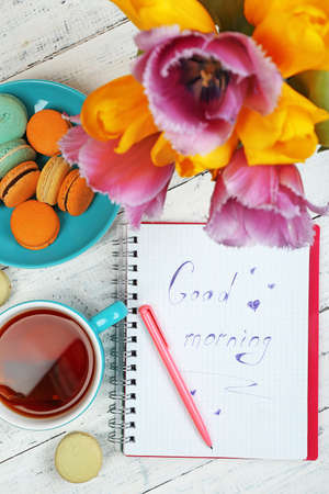 sweet good: Composition with good morning top view on wooden background Stock Photo
