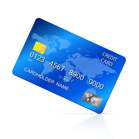 credit card payment: Vector illustration of detailed blue credit card, isolated on white