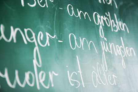 syntactic: Grammar sentences on blackboard background Stock Photo