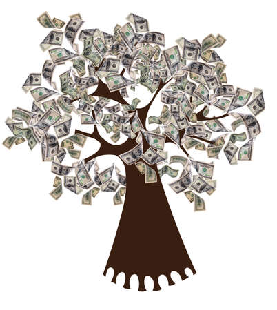 bank branch: Money concept. Money tree isolated on white. Vector illustration.