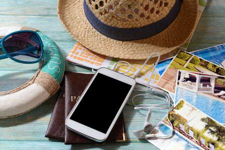 passeport: Pr�paration de Voyage, billet de r�servation close-up Banque d'images