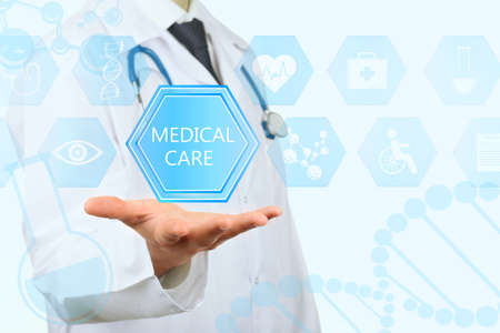 healthcare: Medical doctor working with healthcare icons. Modern medical technologies concept Stock Photo