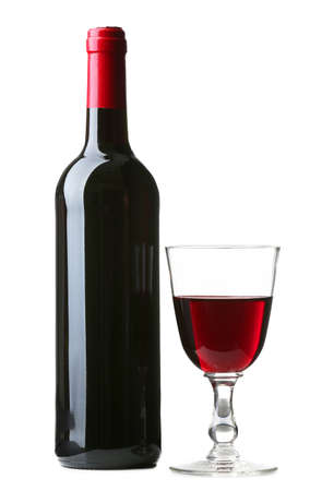 Weinflasche mit Glas isoliert auf weiß Standard-Bild - 46929380