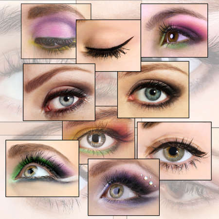 smoky eyes: Collage with beautiful female eyes Stock Photo