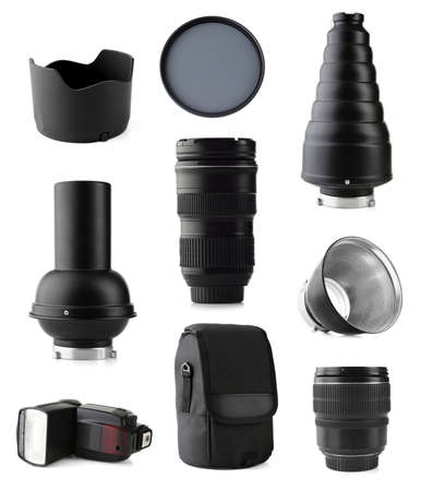 snoot: Photographic equipment isolated on white Stock Photo