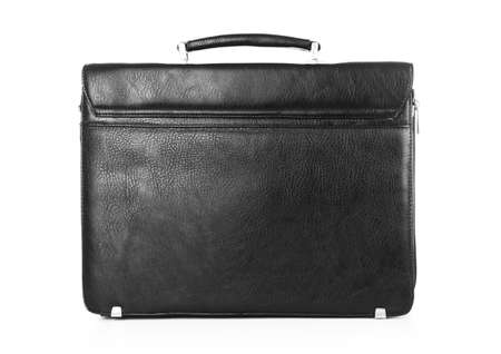 leather briefcase: Black leather briefcase isolated on white