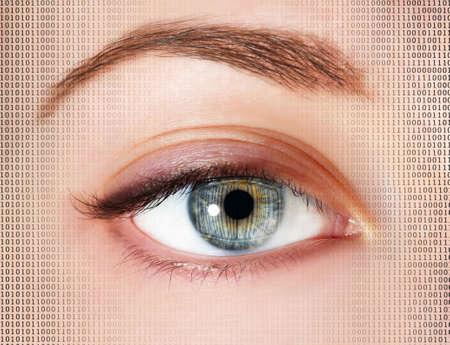 ojo humano: Human eye with integrated binary code