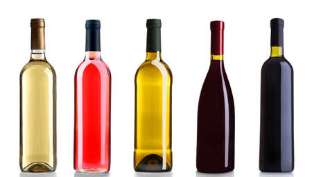 aligote: Set of white, rose, and red wine bottles, isolated on white Stock Photo
