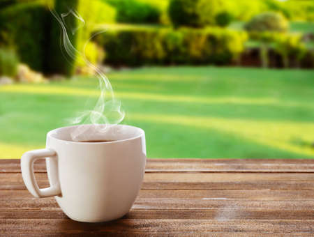 garden lawn: Cup of coffee on table on bright background