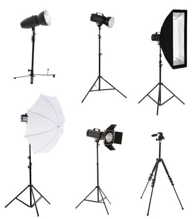 Photographic equipment isolated on white 스톡 콘텐츠