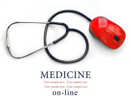 Stethoscope with computer mouse isolated on white. Medical online concept Banque d'images