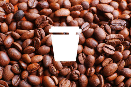 coffee beans background: Coffee vector icon on coffee beans background