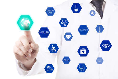 suggesting: Close-up of doctor hand working with virtual screen Stock Photo