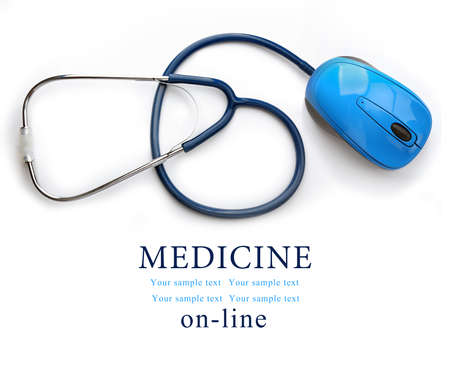Stethoscope with computer mouse isolated on white. Medical online concept Stock Photo