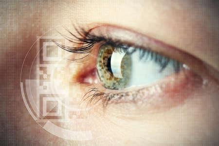 human eye: Human eye with integrated  QR code