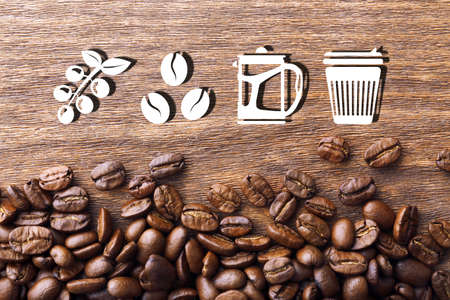 brewed: Coffee vector icons on wooden background Stock Photo