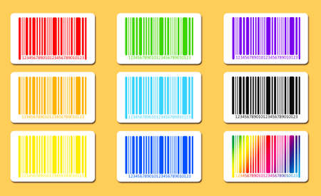 brindled: Bright bar codes on yellow background. Vector image