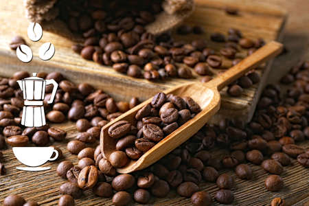 Koffie vector pictogrammen op de achtergrond van koffiebonen