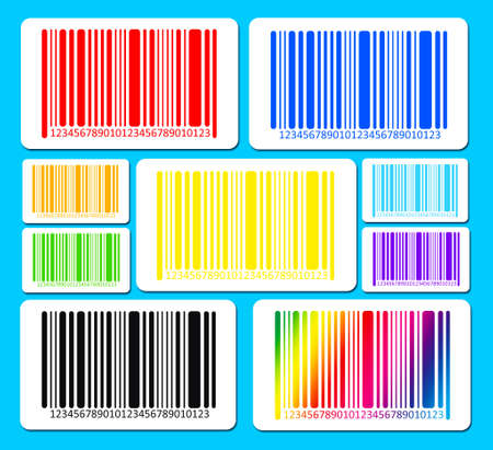secret number: Bright bar codes on blue background. Vector image