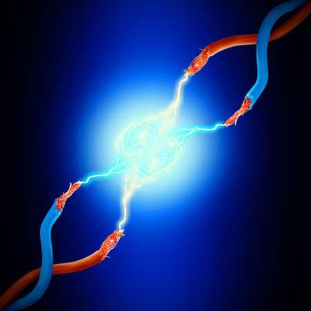 electricidad: Cables el�ctricos con resplandeciente rayo de electricidad, de cerca