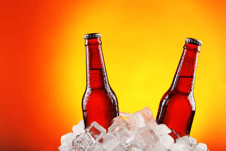 dew cap: Glass bottles of beer in ice cubes on color background Stock Photo