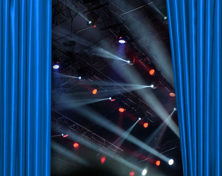 blue curtain: Blue curtain on tconcert stage slightly open Stock Photo